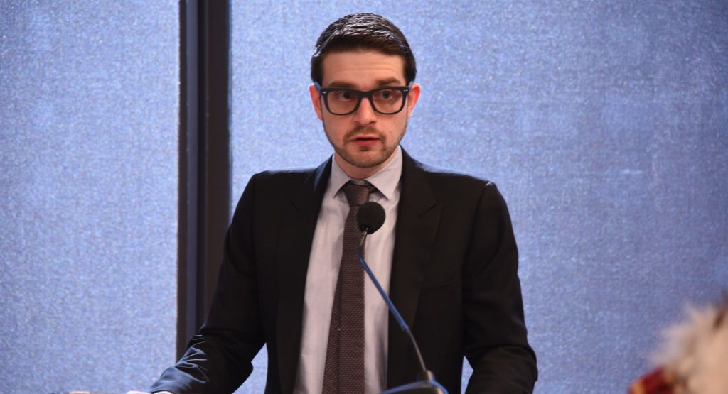 NEW YORK, NY - APRIL 21: Founder of the Alexander Soros Foundation Alexander Soros speaks onstage during the Ford Foundation-United Nations Development Programme Forests for Climate event at the Ford Foundation on April 21, 2016 in New York City. Without tropical forests, humanity will lose indispensable years to reduce fossil fuel use. Where indigenous peoples and local communities have secure land rights to their forests, there is less deforestation and better forest protection.   Dave Kotinsky/Getty Images for Ford Foundation/AFP