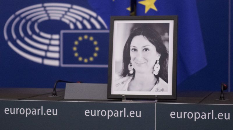 Photo of Daphné CARUANA GALIZIA on 14 november 2017, in EU Parlament in Strasbourg, France. Daphné CARUANA GALIZIA was a Maltese journalist, writer, and anti-corruption activist. At around 3 pm on 16 October 2017, Daphne Caruana Galizia died in a car bomb attack on her rented Peugeot 108, while she was driving close to her home in Malta. (Photo by Elyxandro Cegarra/NurPhoto)