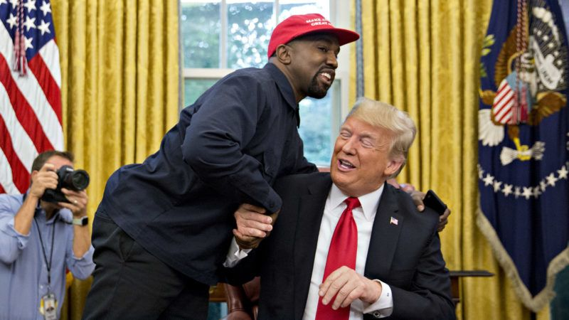 Rapper Kanye West, left, shakes hands with U.S. President Donald Trump during a meeting in the Oval Office of the White House in Washington, D.C., U.S., on Thursday, Oct. 11, 2018. West, a recording artist and prominent Trump supporter, is at the White House to have lunch with the president and to meet with presidential son-in-law and senior adviser Jared Kushner who has spearheaded the administrations efforts overhaul the criminal justice system. Photographer: Andrew Harrer/Bloomberg via Getty Images