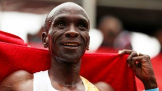 LONDON, ENGLAND - APRIL 28:  Eliud Kipchoge of Kenya celebrates after he crosses the line to win the Men's Elite race during the Virgin Money London Marathon at United Kingdom on April 28, 2019 in London, England. (Photo by Naomi Baker/Getty Images)