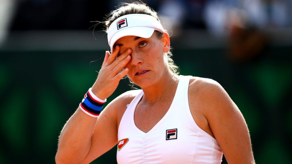 PARIS, FRANCE - MAY 28: Timea Babos of Hungary during her ladies singles first round match against Priscilla Hon of Australia during Day three of the 2019 French Open at Roland Garros on May 28, 2019 in Paris, France. (Photo by Clive Mason/Getty Images)