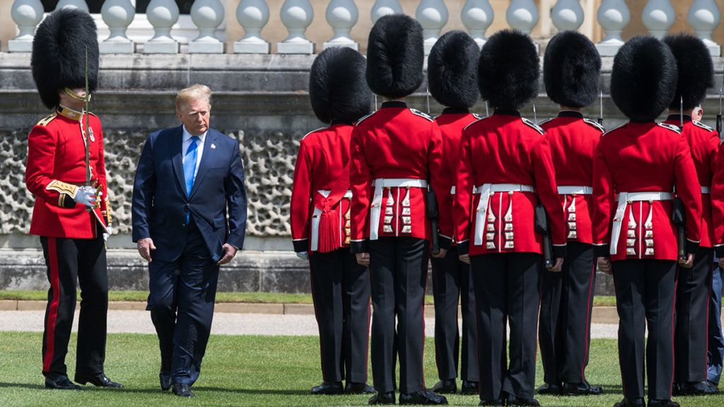 LONDON, ENGLAND - JUNE 03: US President Donald Trump attends a Ceremonial Welcome at Buckingham Palace on June 03, 2019 in London, England. (Photo by Samir Hussein/Samir Hussein/WireImage)