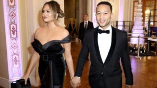 PARIS, FRANCE - JUNE 02: John Legend and Chrissy Teigen attend Pianists Lang Lang & Gina Alice Cocktail Wedding at Hotel Shangri-La on June 02, 2019 in Paris, France. (Photo by Kristy Sparow/Getty Images for Moet Hennessy)