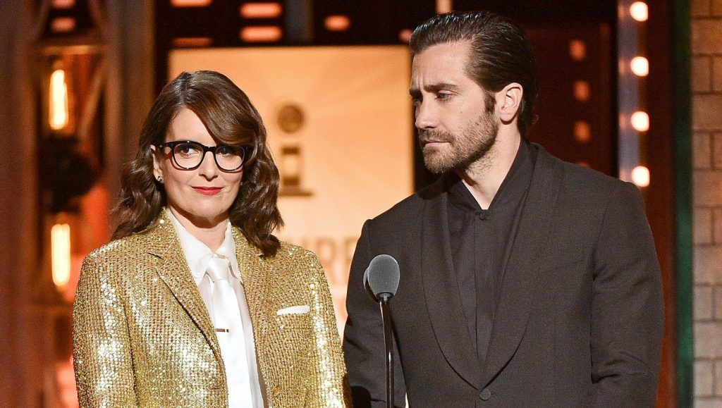 NEW YORK, NEW YORK - JUNE 09: Tina Fey and Jake Gyllenhaal present an award onstage during the 2019 Tony Awards at Radio City Music Hall on June 9, 2019 in New York City. (Photo by Theo Wargo/Getty Images for Tony Awards Productions)