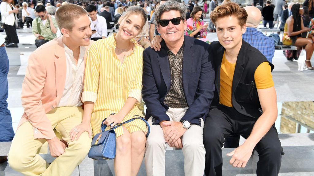 FLORENCE, ITALY - JUNE 11: (L-R) Dylan Sprouse, Barbara Palvin, Matthew Sprouse and Cole Sprouse attends the Salvatore Ferragamo show during Pitti Immagine Uomo 96 on June 11, 2019 in Florence, Italy. (Photo by Jacopo Raule/Getty Images for Ferragamo)
