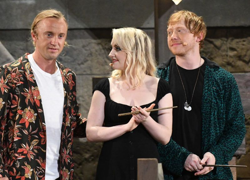 ORLANDO, FLORIDA - JUNE 11: (L-R) Tom Felton, Evanna Lynch and Rupert Grint attend the Hagrid's Magical Creatures Motorbike Adventure Preview at The Wizarding World of Harry Potter on June 11, 2019 in Orlando, Florida. (Photo by Gerardo Mora/Getty Images)