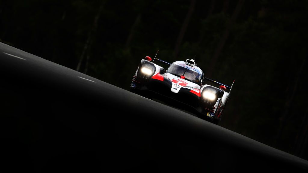 LE MANS, FRANCE - JUNE 12: The Toyota Gazoo Racing TS050 Hybrid of Mike Conway, Kamui Kobayashi and Jose Maria Lopez drives during practice for the 24 Hours of Le Mans at the Circuit de la Sarthe on June 12, 2019 in Le Mans, France. (Photo by Ker Robertson/Getty Images)
