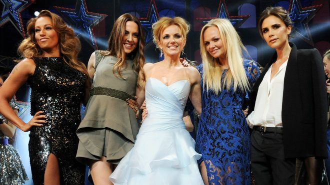 LONDON, ENGLAND - DECEMBER 11:  (EMBARGOED FOR PUBLICATION IN UK TABLOID NEWSPAPERS UNTIL 48 HOURS AFTER CREATE DATE AND TIME. MANDATORY CREDIT PHOTO BY DAVE M. BENETT/GETTY IMAGES REQUIRED)  (L to R) Melanie Brown, Melanie Chisholm, Geri Halliwell, Emma Bunton and Victoria Beckham bow at the curtain call during the Gala Press Night performance of 'Viva Forever' at the Piccadilly Theatre on December 11, 2012 in London, England.  (Photo by Dave M. Benett/Getty Images)