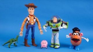 NEW YORK, NY - NOVEMBER 15: (left to right: Tyrannosaurus Rex; Woody; Hamm, the pig; Buzz Lightyear; and Mr. Potato Head) Toys from the movie 'Toy Story,' are photographed November 15, 1995 in New York City. (Photo by Yvonne Hemsey/Getty Images)