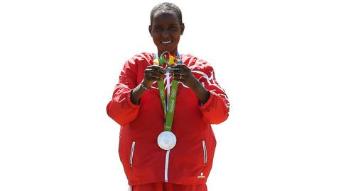 RIO DE JANEIRO, BRAZIL - AUGUST 14:  Silver medalist Eunice Jepkirui Kirwa of Bahrain poses during the medal ceremony for the Women's Marathon on Day 9 of the Rio 2016 Olympic Games at the Sambodromo on August 14, 2016 in Rio de Janeiro, Brazil.  (Photo by Buda Mendes/Getty Images)