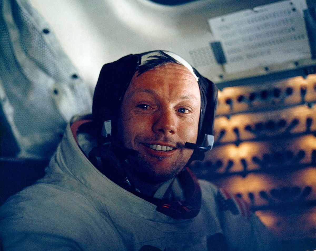 376713 12: (FILE PHOTO) Astronaut Neil Armstrong smiles inside the Lunar Module July 20, 1969. The 30th anniversary of the Apollo 11 Moon landing mission is celebrated July 20, 1999. (Photo by NASA/Newsmakers)