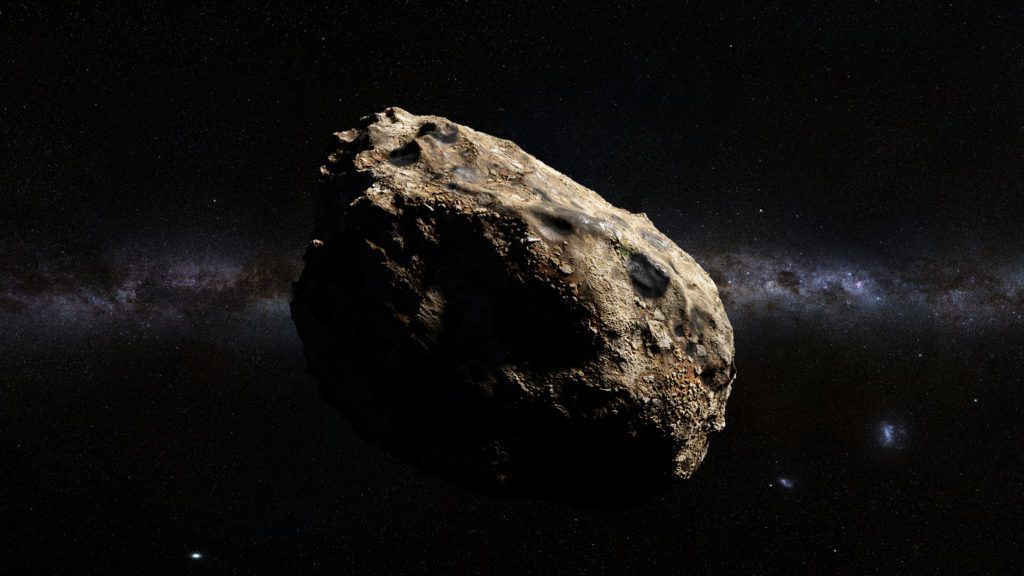 asteroid in deep space lit by the stars