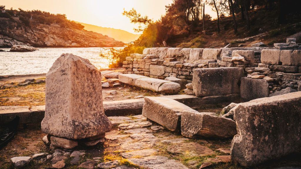 Sunrise at the ruins of Aliki marble port in Thasos, Greece