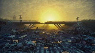 Ruins of a city highway. Apocalyptic landscape.3d illustration concept;