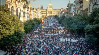 PRAGUE, CZECH REPUBLIC - JUNE 4: People attend a rally against Czech Prime Minister Andrej Babis and Czech Minister of Justice Marie Benesova at the Wenceslas Square in Prague, Czech Republic on June 4, 2019. About 100,000 people have joined the protest organised by the non-governmental organisation Million Moments for Democracy, which demanded the resignation of the Justice Minister Marie Benesova and against Prime Minister Andrei Babis, who is suspected of allegedly abusing EU subsidies. Lukas Kabon / Anadolu Agency