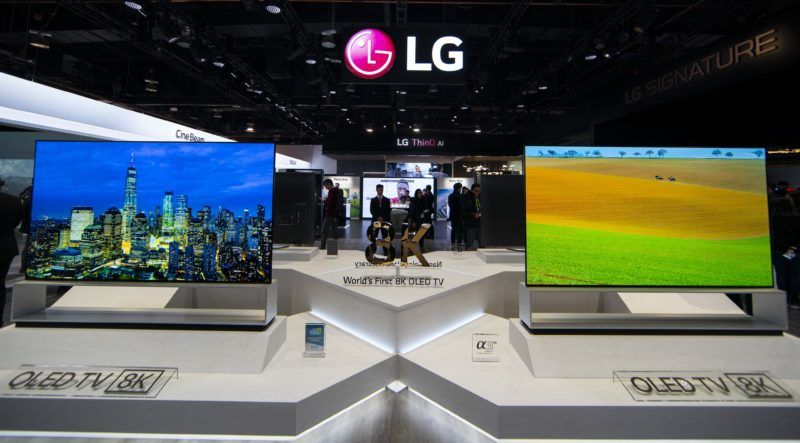 LG electronics booth at 2019 CES on Monday, Jan. 7, 2019, in Las Vegas. (Jack Dempsey/AP Images for LG Electronics)