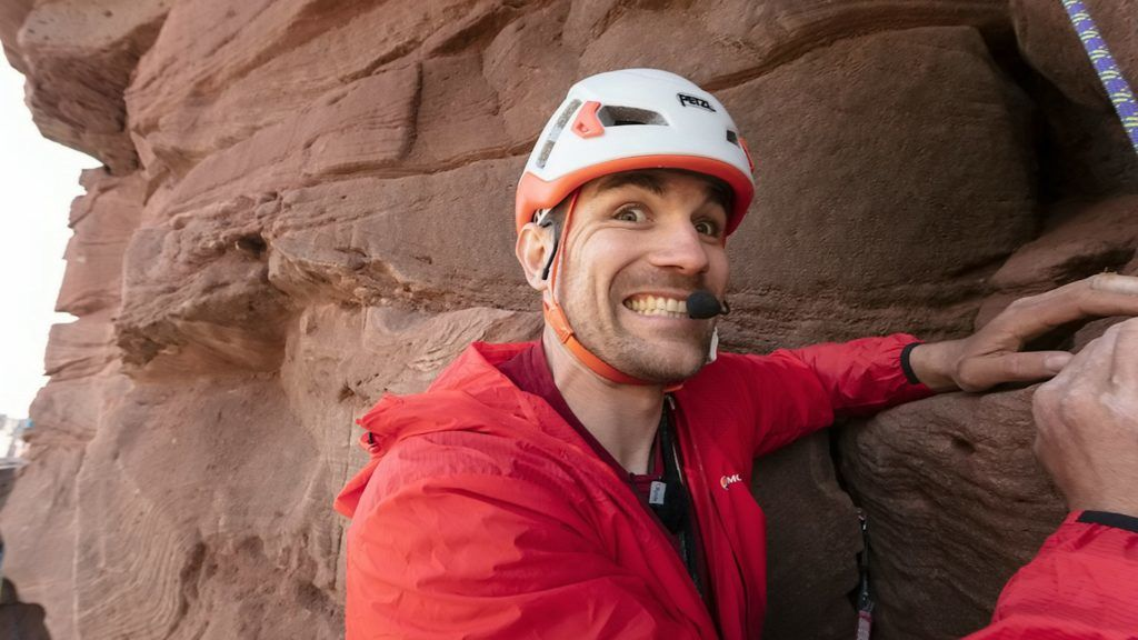 Jesse Dufton, a GB para climber who is blind, has become the first person to scale the 450-foot high Old Man of Hoy - with his sighted partner Molly Thompson. See SWNS story SWSChoy. .A professional climber has become the first blind person to scale the 450-foot high Old Man of Hoy, leading the expedition. Jesse Dufton, a GB para climber, scaled the giant red sandstone sea stack on Hoy, Orkney Islands, becoming the first blind person to lead climb it. The professional climber and his sighted partner Molly Thompson made history when they reached the summit of the famous landmark after seven hours of climbing - reaching the top at 10.10pm on Tuesday (June 4). Jesse lead climbed the classic East Face Route, which was also the route Chris Bonington first ascended the stack in 1966 - climbing it again for the BBC's The Great Climb in 1967. ***EXCLUSIVE***