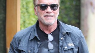 PREMIUM EXCLUSIVE Please contact X17 before any use of these exclusive photos - x17@x17agency.comThursday, June 6, 2019 - Arnold Schwarzenegger does a little shameless self-promotion as he sports a t-shirt with his face on it after having lunch in Beverly Hills. Arnold and the family are amped up as they plan for Katherine's upcoming wedding with Chris Pratt.X17online.com June 6, 2019