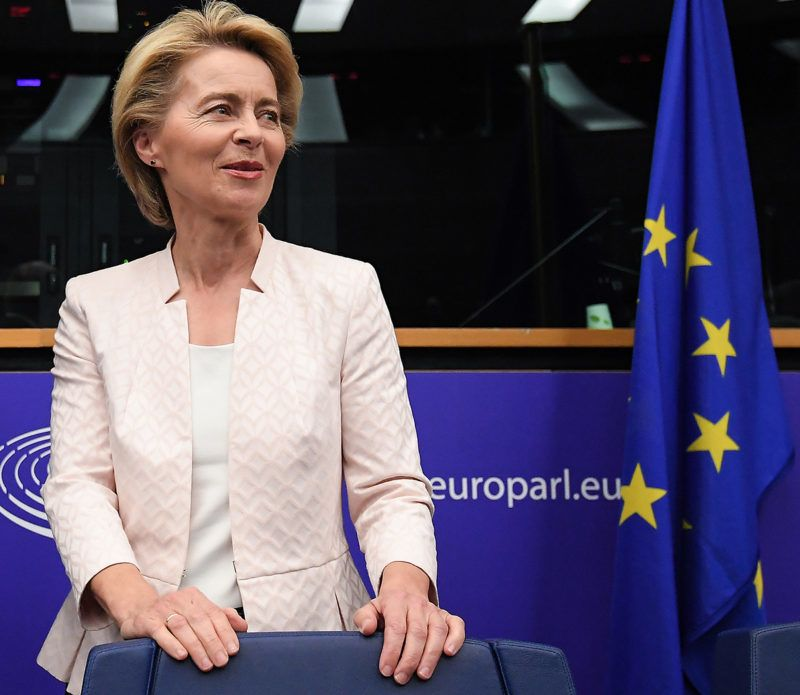 German Defence minister and newly-appointed EU commission chief Ursula von der Leyen arrives for a meeting during the first plenary session of the newly elected European Assembly at the European Parliament on July 3, 2019 in Strasbourg, eastern France. (Photo by FREDERICK FLORIN / AFP)