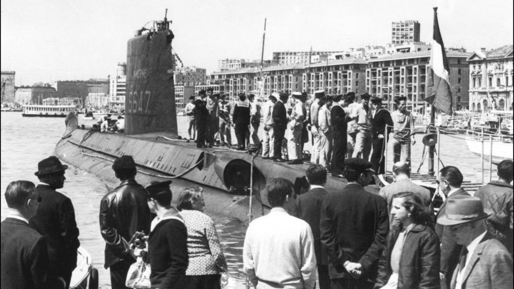 """(FILES) A photo taken in the second half of the 60s showing the submersible """"Minerve"""" docked in the old port of Marseille, southern France. - The submarine La Minerve, which disappeared 50 years ago, has been found off the coast of Toulon, southern France, it was announced by the French Defence Minister on July 22, 2019. The """"Minerva"""" disappeared at sea, with its 52 man crew on January 27, 1968, off Toulon. (Photo by STF / AFP)"""