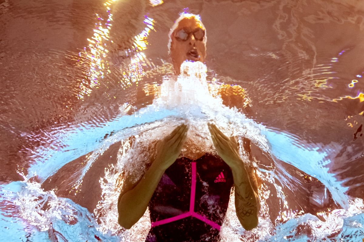 France's Fantine Lesaffre competes in a heat for the women's 400m individual medley event during the swimming competition at the 2019 World Championships at Nambu University Municipal Aquatics Center in Gwangju, South Korea, on July 28, 2019. (Photo by François-Xavier MARIT / AFP)