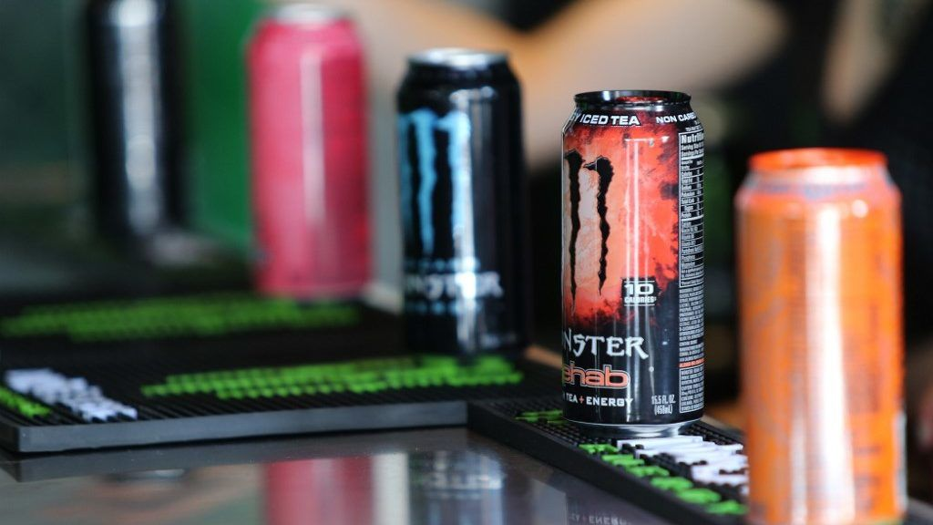 HAMPTON, GA - MARCH 05: A detail of Monster Energy drinks prior to the Monster Energy NASCAR Cup Series Folds Of Honor QuikTrip 500 at Atlanta Motor Speedway on March 5, 2017 in Hampton, Georgia.   Jerry Markland/Getty Images/AFP