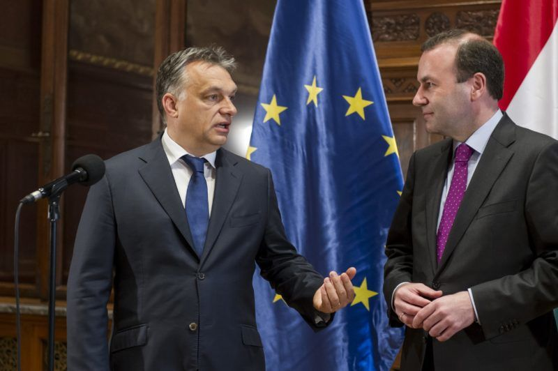BUDAPEST, HUNGARY - JUNE 04:  Hungarian Prime Minister Viktor Orban (L) and European People's Party (EPP) Manfred Weber (R) give a statement following their meeting at the Hungarian Parliament in Budapest, Hungary, on June 04, 2015. Hungarian Prime Ministry Press Office / Anadolu Agency