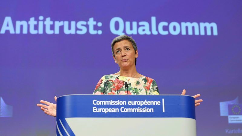 BRUSSELS, BELGIUM - JULY 18: European Commissioner for Competition Margrethe Vestager holds a press conference on antitrust decision on Qualcomm in Brussels, Belgium on July 18, 2019. Dursun Aydemir / Anadolu Agency