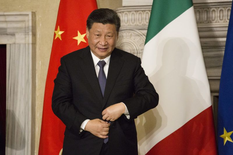Italy, Rome: China's President Xi Jinping during a signing ceremony at Villa Madama in Rome on March 23, 2019 as part of a two-day visit to Italy. President Xi Jinping is in Italy to sign a memorandum of understanding to make Italy the first Group of Seven leading democracies to join China's ambitious Belt and Road infrastructure project. (Photo by Christian Minelli/NurPhoto)