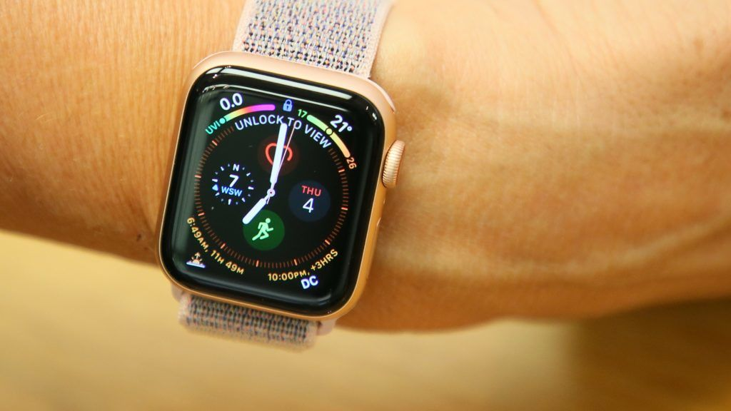 """A general view of the new Apple Watch Series 4 on display at the Apple Store at The Grove on October 04, 2018 in Los Angeles, California. (Photo credit should read """"FPA/Full Picture Agency via AFP"""")"""