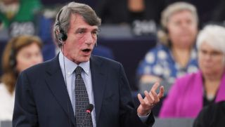 Italian MEP David-Maria Sassoli (S&D Group), candidate for the presidency of the European Parliament, speaks as he takes part in a voting session to elect the new president of the European Parliament during the first plenary session of the newly elected European Assembly on July 3, 2019 in Strasbourg, eastern France. (Photo by FREDERICK FLORIN / AFP)