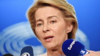 German Defence Minister and newly-appointed EU commission Ursula von der Leyen speaks to journalists during the first plenary session of the newly elected European Assembly at the European Parliament on July 03, 2019 in Strasbourg, eastern France. (Photo by FREDERICK FLORIN / AFP)