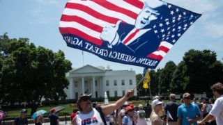 Supporters of US President Donald Trump gather in front of the White House in Washington, DC, on July 3, 2019. (Photo by NICHOLAS KAMM / AFP)