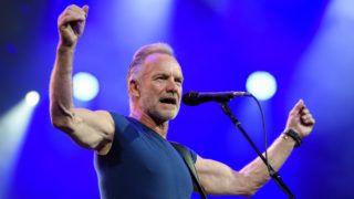 (FILES) In this file photo taken on June 28, 2019 British singer Sting performs on stage during the opening day of the 53th edition of Montreux Jazz Festival. - British singer Sting cancelled a slew of concerts in Europe on July 10, 2019, blaming an unspecified illness for keeping him off the stage since the beginning of the week. Hours after calling off an appearance in Munich, Germany slated for on July 10, 2019 evening, the former Police frontman's website said shows in another German city Stuttgart as well as Slavkov u Brna in the Czech Republic scheduled for July 11 and July 12 would also not go ahead. (Photo by FABRICE COFFRINI / AFP) / RESTRICTED TO EDITORIAL USE