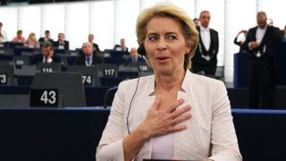 Newly elected European Commission President Ursula von der Leyen reacts after a vote on her election at the European Parliament in Strasbourg, eastern France on July 16, 2019. - German defence minister Ursula von der Leyen was narrowly elected president of the European Commission on July 16, after winning over sceptical lawmakers. The 60-year-old conservative was nominated to become the first woman in Brussels' top job last month by the leaders of the bloc's 28 member states, to the annoyance of many MEPs. (Photo by FREDERICK FLORIN / AFP)