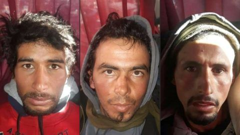 """(FILES) A file combination photo created on December 20, 2018 shows Rachid Afatti (L), Ouziad Younes (C), and Ejjoud Abdessamad (R), the three suspects in the grisly murder of two Scandinavian hikers whose bodies were found at a camp in Morocco's High Atlas mountains, in police custody following their arrest. - A Moroccan court on July 18, 2019 condemned three suspected jihadists to death for the murder of two Scandinavian women beheaded while on a hiking trip in Morocco. (Photos by - / MOROCCAN POLICE / AFP) / == RESTRICTED TO EDITORIAL USE - MANDATORY CREDIT """"AFP PHOTO / HO / MOROCCAN POLICE"""" - NO MARKETING NO ADVERTISING CAMPAIGNS - DISTRIBUTED AS A SERVICE TO CLIENTS == == RESTRICTED TO EDITORIAL USE - MANDATORY CREDIT """"AFP PHOTO / HO / MOROCCAN POLICE"""" - NO MARKETING NO ADVERTISING CAMPAIGNS - DISTRIBUTED AS A SERVICE TO CLIENTS == == RESTRICTED TO EDITORIAL USE - MANDATORY CREDIT """"AFP PHOTO / HO / MOROCCAN POLICE"""" - NO MARKETING NO ADVERTISING CAMPAIGNS - DISTRIBUTED AS A SERVICE TO CLIENTS == /"""
