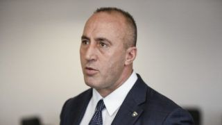 """(FILES) In this file photo taken on January 25, 2019 Kosovo Prime Minister Ramush Haradinaj speaks during an interview with the AFP, in Pristina. - Kosovo Prime Minister, a wartime commander of the Kosovo Liberation Army (KLA), said on July 19, 2019 he has resigned after being called as a suspect before a war crimes court in The Hague. """"I received a call by the special court as a suspect and was offered to go as the prime minister or as an ordinary citizen of Kosovo. I chose the latter,"""" Haradinaj told reporters. (Photo by Armend NIMANI / AFP)"""