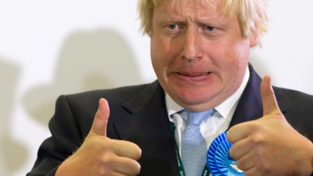 (FILES) In this file photo taken on May 08, 2015 (FILES) In this file photo taken on May 08, 2015 London Mayor and newly elected Conservative Party MP for Uxbridge and Ruislip South, Boris Johnson, reacts on stage after winning his seat in Uxbridge, west London, on May 8, 2015 after votes have been counted in the British general election. - The Conservative Party will announce the result of the leadership ballot on July 23, 2019 with former London mayor and former foreign secretary Boris Johnson widely tipped to win the race to lead the party and take up office at 10 Downing Street. (Photo by Justin TALLIS / AFP)