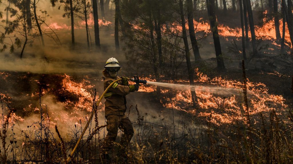 """A firefighter tries to extinguish a wildfire in the village of Casais de Sao Bento in Macao in central Portugal on July 22, 2019. - Huge wildfires that have ravaged the mountainous Castelo Branco region of central Portugal and left dozens injured have been """"90 percent"""" controlled, firefighters said, but warned that strong winds could cause the flames to spread. (Photo by PATRICIA DE MELO MOREIRA / AFP)"""