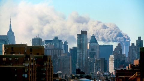 Colour photograph of the Manhattan skyline following the terrorist attacks on the World Trade Centre. Dated 2001