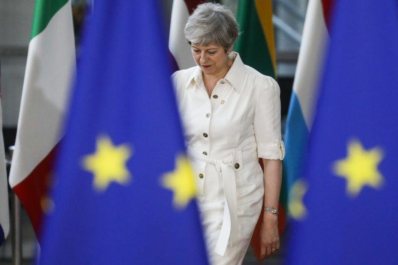 Prime Minister of the United Kingdom Theresa May pictured during a EU summit meeting, Sunday 30 June 2019, at the European Union headquarters in Brussels.  BELGA PHOTO THIERRY ROGE