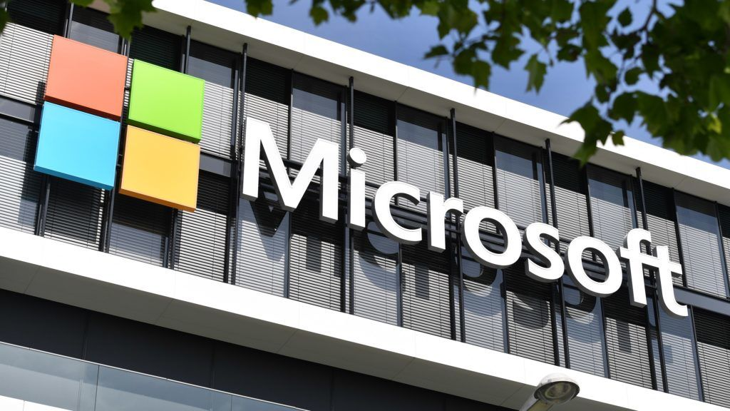 MICROSOFT logo, lettering company logo in front of the Germany headquarters of MICROSOFT in Munich. | usage worldwide