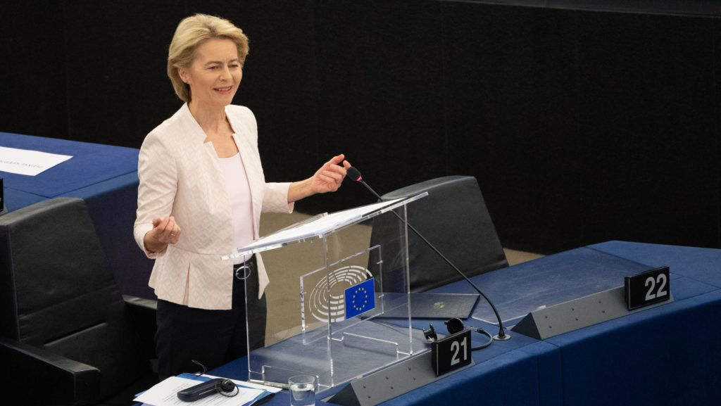 15 July 2019, France (France), Straßburg: Ursula von der Leyen (CDU) addresses the Members of the European Parliament during her application speech. Von der Leyen is applying to become the new President of the EU Commission. The heads of state and government of the EU had proposed the CDU politician as successor to EU Commission President Juncker. Photo: Marijan Murat/dpa