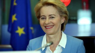 BRUSSELS, BELGIUM - JULY 10 : German Defense Minister and nominee for President of the European Commission, Ursula von der Leyen attends as a speaker to political parties' group meetings at European Parliament in Brussels, Belgium on July 10, 2019. Dursun Aydemir / Anadolu Agency