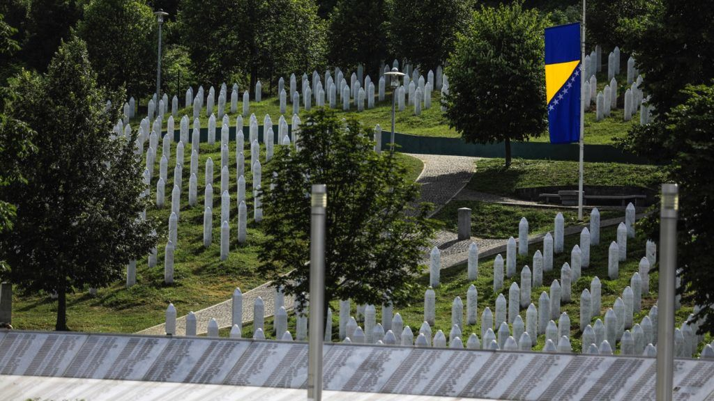 """SREBRENICA, BOSNIA AND HERZEGOVINA - JULY 11: A view of the Srebrenica–Potocari Memorial, after the burial of recently identified remains of 33 victims of Srebrenica Genocide on the 24th anniversary of Srebrenica Genocide on July 11, 2019 in Srebrenica, Bosnia and Herzegovina. Minister of Youth and Sports of Turkey Mehmet Muharrem Kasapoglu, deputies, representatives of international institutions in the country, politicians, diplomats, and about thousands of people attended the ceremony. More than 8,000 Bosnian Muslim men and boys were killed after Bosnian Serb forces attacked the UN """"safe area"""" of Srebrenica in July 1995, despite the presence of Dutch troops tasked with acting as international peacekeepers. Srebrenica Genocide is considered the biggest human tragedy after the WWII in Europe.   Samir Yordamovic / Anadolu Agency"""