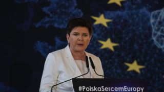Press conference with the participation of Jaroslaw Kaczynski, Chairman of the Law and Justice party, Beata Szydlo (photo), Deputy Prime Minister of Poland, and Ryszard Legutko MEP, ahead of the elections to the European Parliament. On Tuesday, April 30, 2019, in Krakow, Poland. (Photo by Artur Widak/NurPhoto)