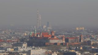 A view over the city of Krakow and the Wawel Castle from Kosciuszko Mound during smog standards many times exceeded. On February 18, 2019.  (Photo by Beata Zawrzel/NurPhoto)