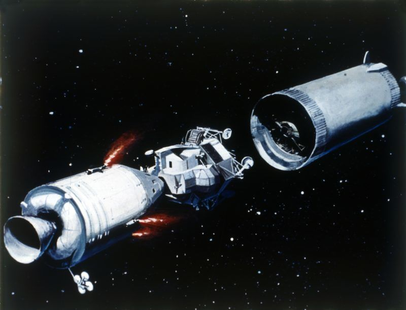 Simulation showing the separation of the component parts of the Apollo 11 spacecraft, 1969. Illustration of the removal of the Command Module and the Lunar Module from the 3rd stage of the Saturn V launch vehicle. Apollo 11 was the fifth manned Apollo mission, and was the first to land on the Moon. Artist NASA. (Photo by Heritage Space/Heritage Images/Getty Images)