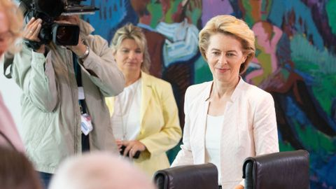BERLIN, GERMANY - JULY 03:  Defense Minister Ursula von der Leyen (CDU), attends the weekly German federal Cabinet meeting on July 3, 2019 in Berlin, Germany. The Federal Cabinet on its meeting is concerned, among other things with the bill to modernize the structures of remuneration law. (Photo by Omer Messinger/Getty Images)
