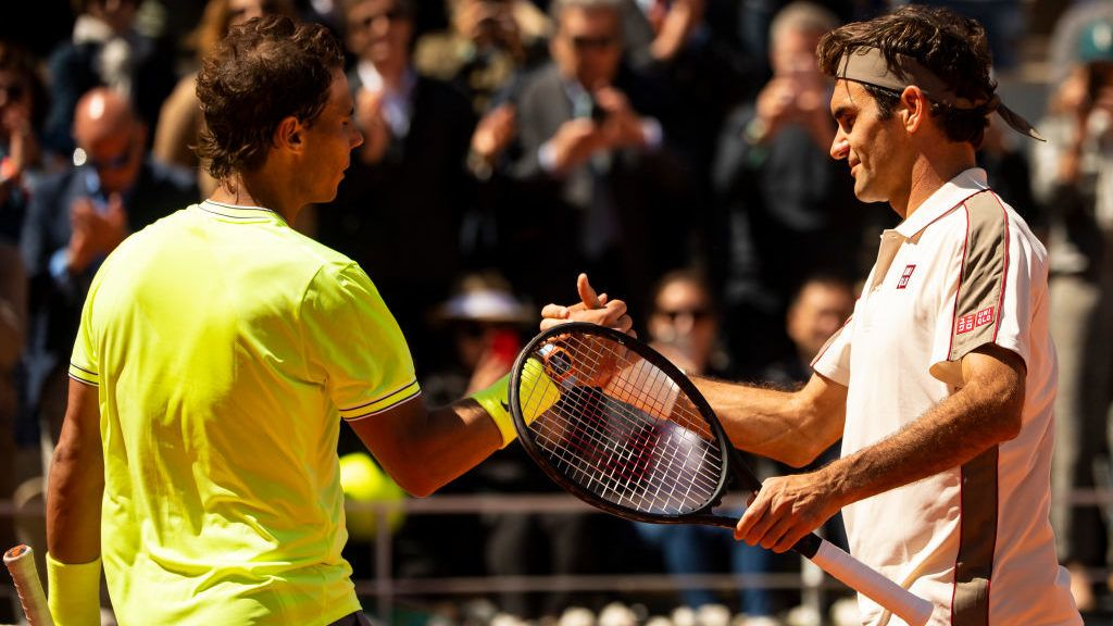 PARIS, FRANCE - JUNE 07:  Rafael Nadal of Spain shakes hands with  Roger Federer of Switzerland after beating him 6-3 6-4 6-2 in the semi finals of the men's singles during Day 13 of the 2019 French Open at Roland Garros on June 07, 2019 in Paris, France. (Photo by TPN/Getty Images)